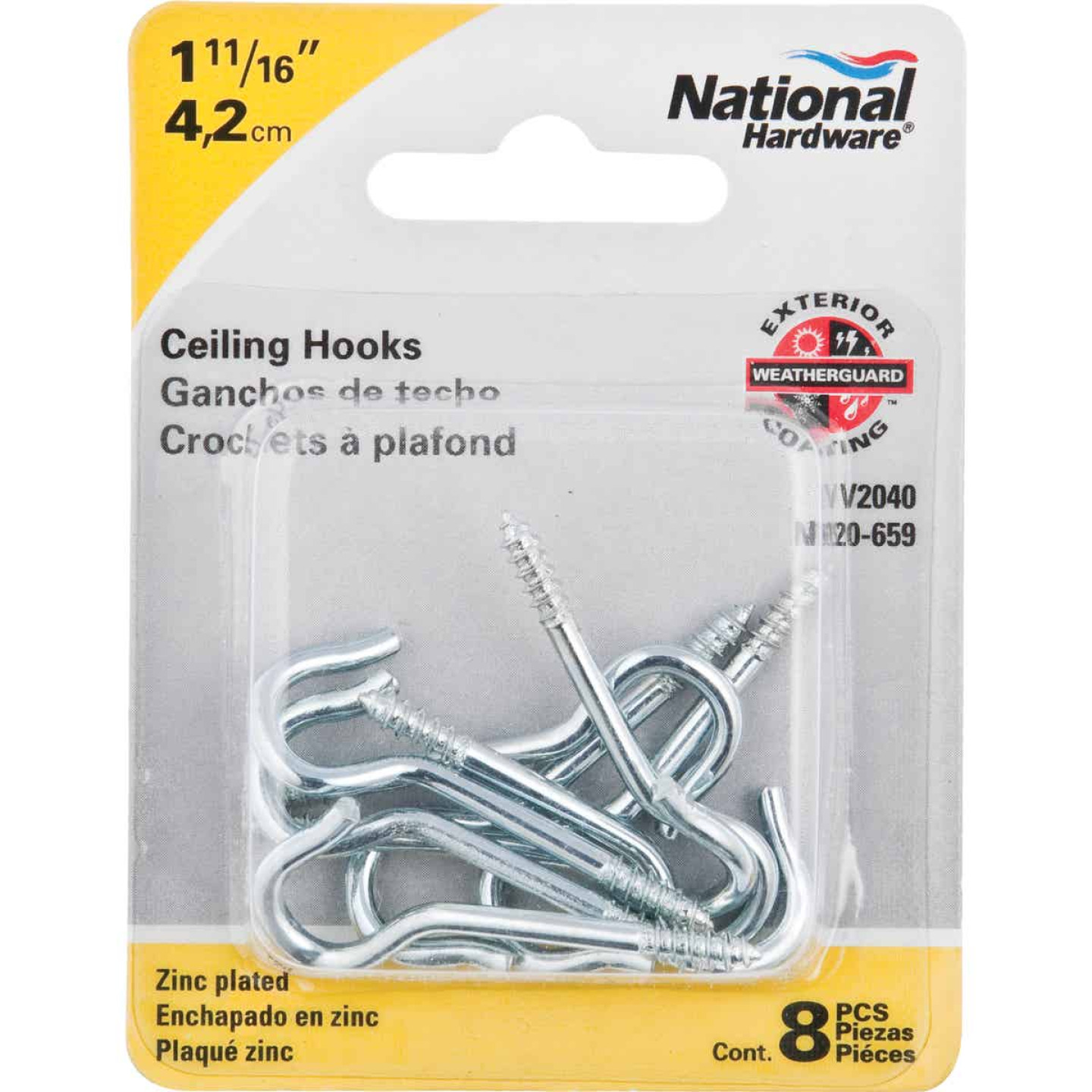 National #12 Zinc Finish Ceiling Hook (8 Pack) Image 2