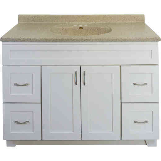 CraftMark Shaker Retreat White 48 In. W x 34 In. H x 21 In. D Vanity Base, 2 Door/4 Drawer