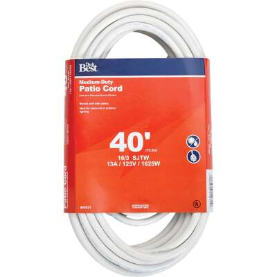 Do it Best 40 Ft. 16/3 Medium-Duty White Patio Extension Cord