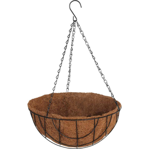 Best Garden 12 In. Steel Rod Black Powder Coat Hanging Plant Basket