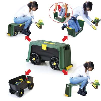 Miracle-Gro Roll N' Kneel Green Plastic Garden Kneeler