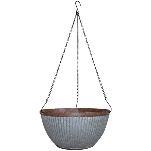 Southern Patio Westlake 12 In. Galvanized Resin Hanging Basket