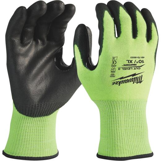 Milwaukee Men's XL Cut Level 3 High Vis Polyurethane Dipped Glove