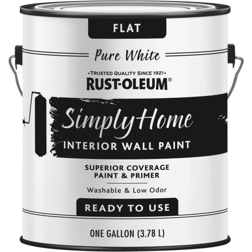 Simply Home Flat Pure White Interior Wall Paint, Gallon
